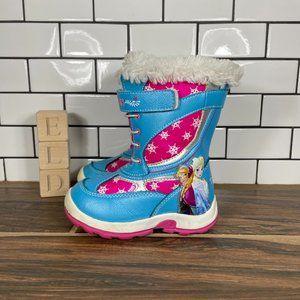 Disney Girls Blue Pink Frozen Leather Zip Up Round Toe Mid Calf Snow Boots Sz 8